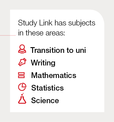 CSU Study Link subject areas include transition to uni, writing, mathematics, statistics and science