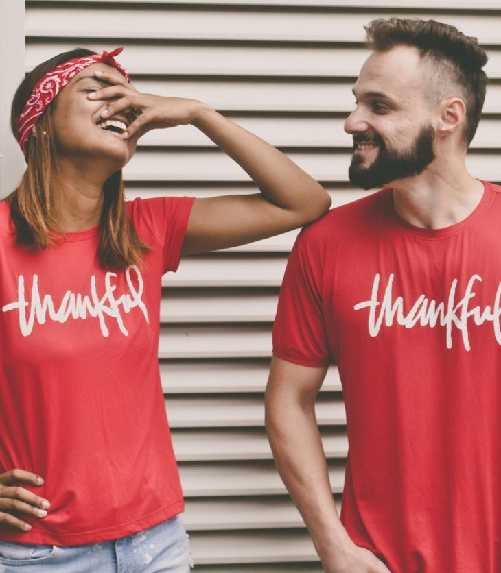 Couple in thankful T shirts