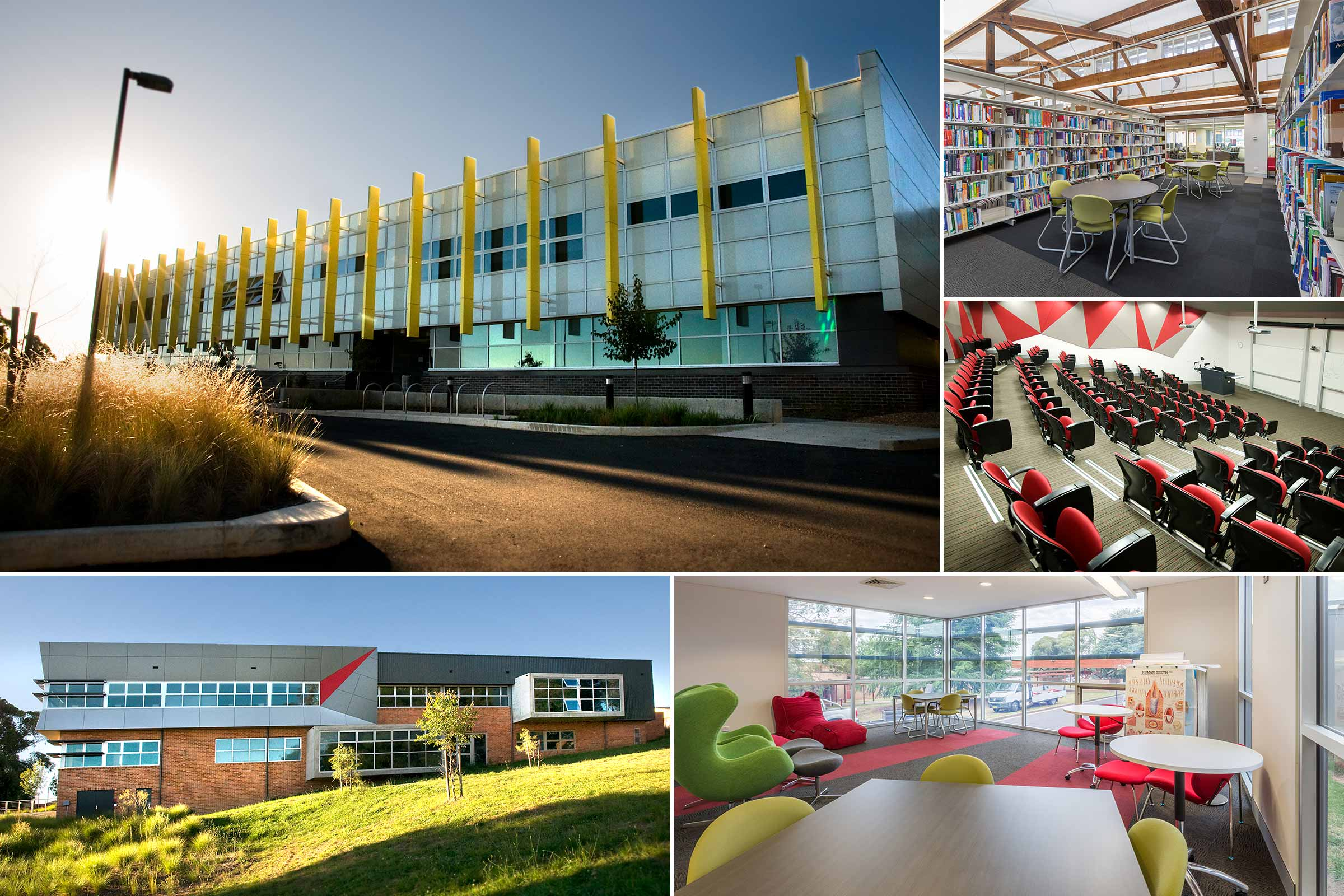 Collage of buildings at Charles Sturt University in Orange