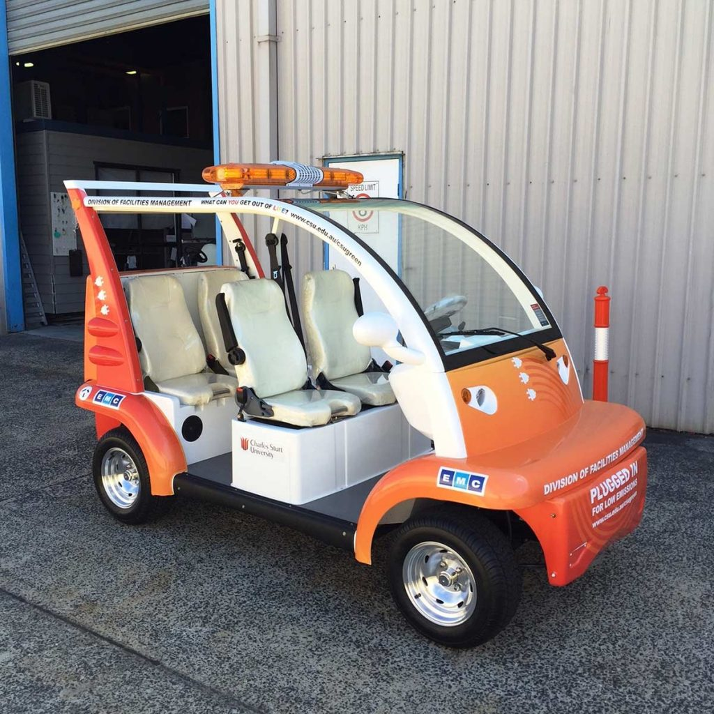 Electric vehicle used on Charles Sturt's campuses.