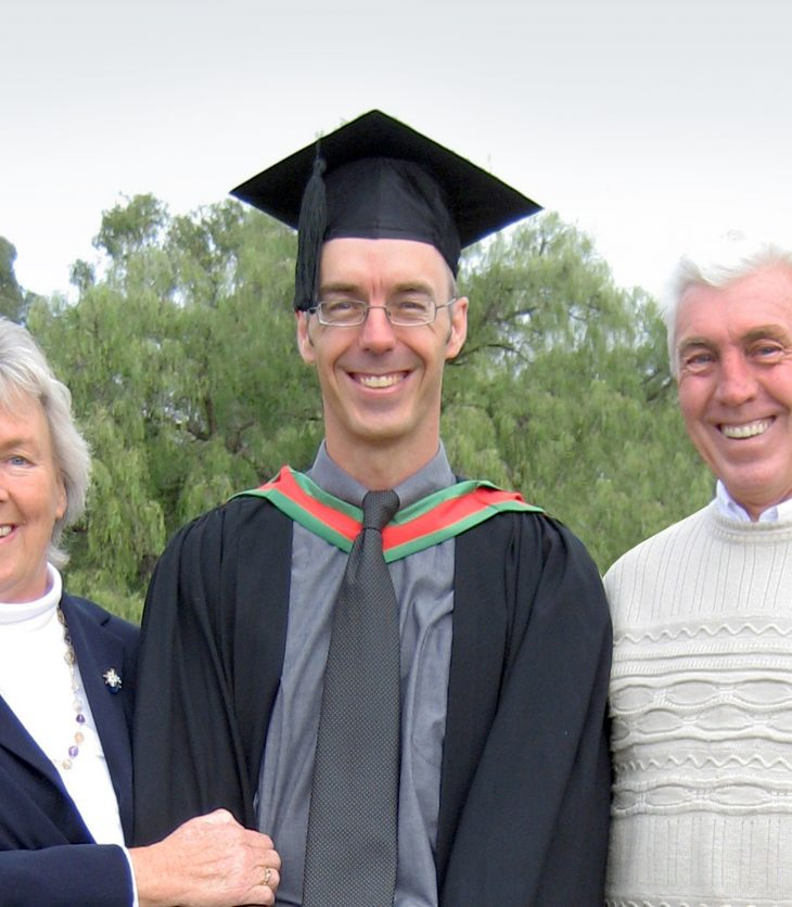 Darren Denmead celebrating his graduation from Charles Sturt University