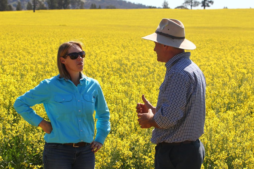 Dr Alison Southwell and James Stephens talking digital agriculture while standing in the middle of a canola crop.