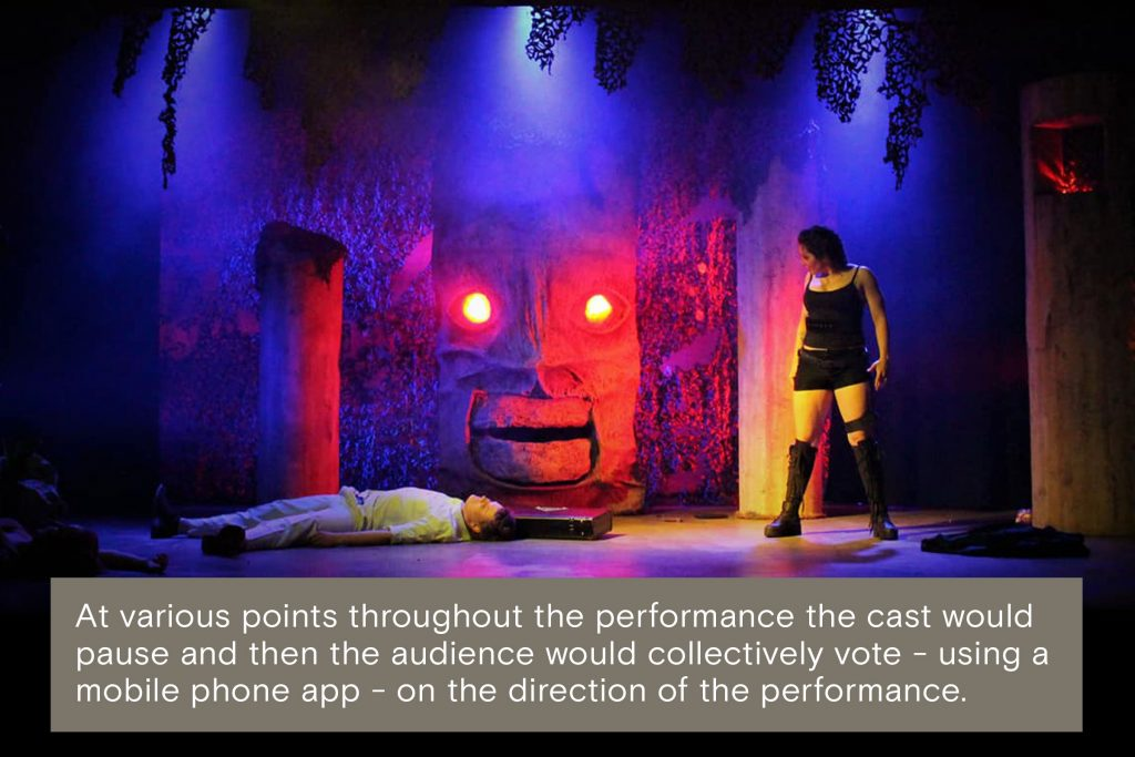 At various points throughout the performance the cast would pause and then the audience would collectively vote - using a  mobile phone app - on the direction of the performance.