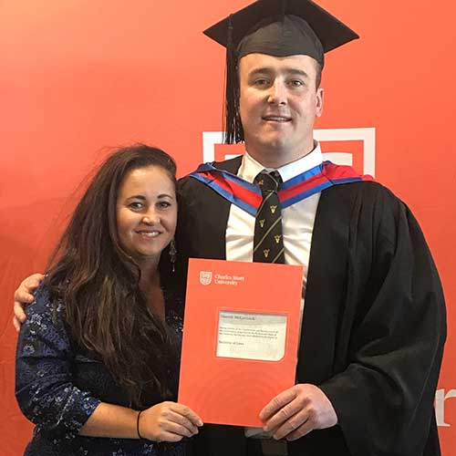 Tradie Hamish McCormack made a career change after graduating with a Bachelor of Laws.