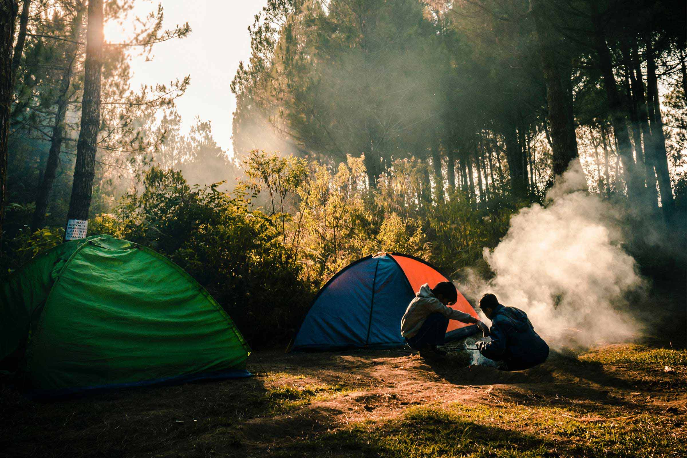 Outdoor recreation students at a campsite