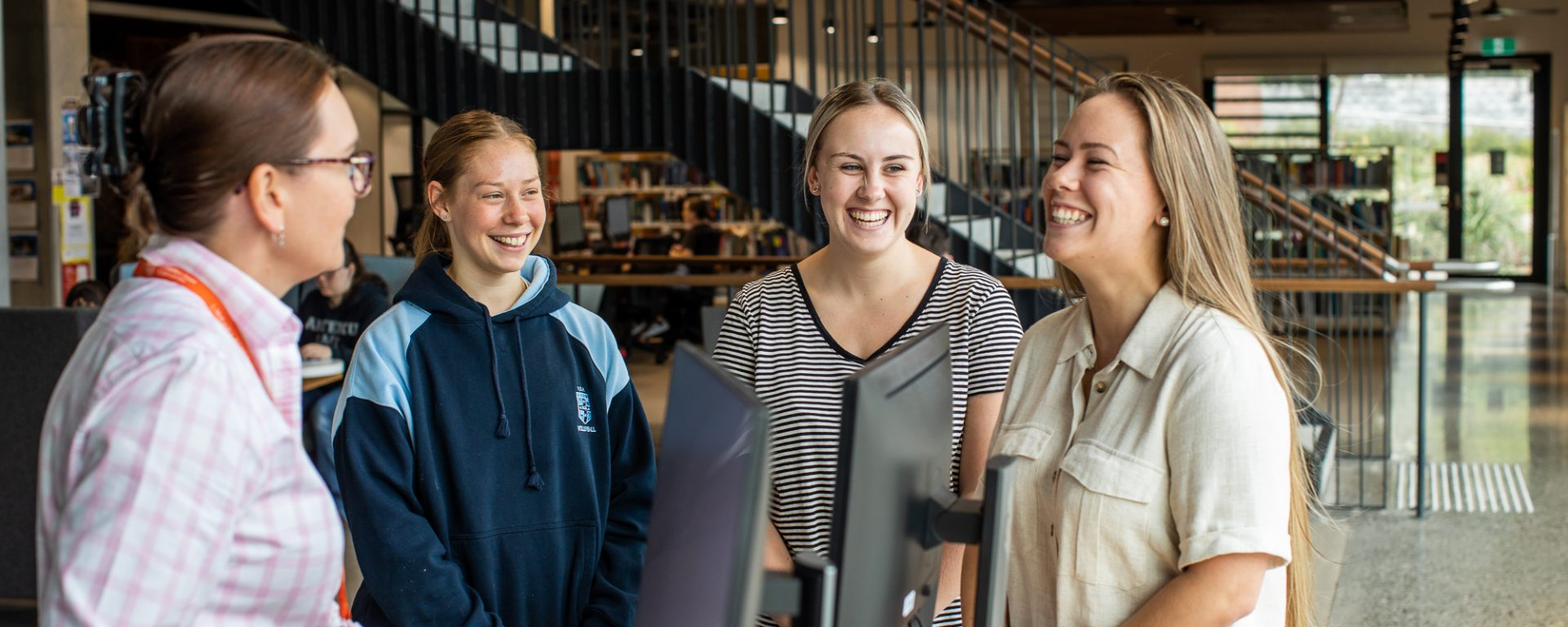 Students studying in Charles Sturt library