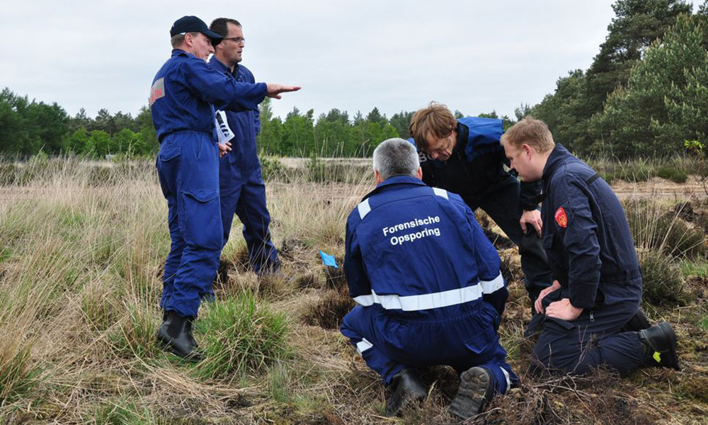 Wildfire experts inspecting a field